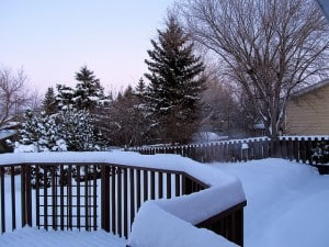 Deck covered in snow.